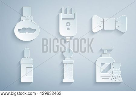 Set Classic Barber Shop Pole, Bow Tie, Beard And Mustaches Care Oil Bottle, Shaving Gel Foam Brush,