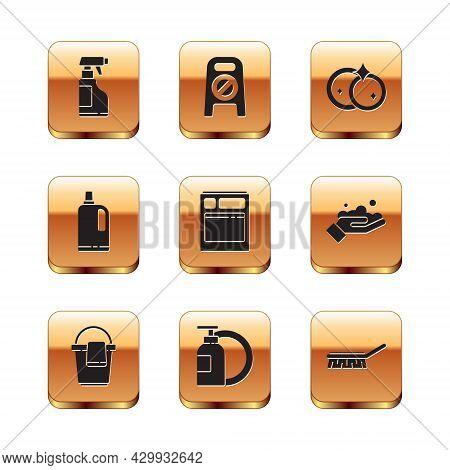 Set Spray Bottle With Detergent Liquid, Bucket Rag, Dishwashing And Plate, Kitchen Dishwasher Machin