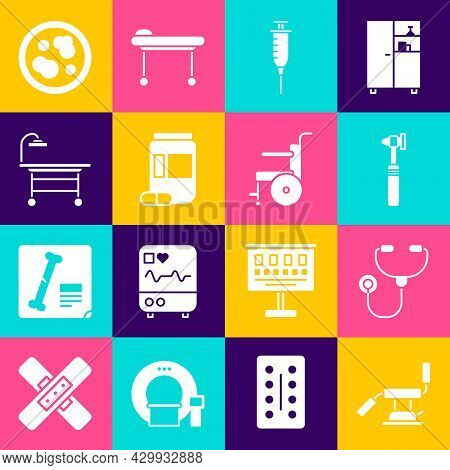 Set Medical Dental Chair, Stethoscope, Otoscope Tool, Syringe, Medicine Bottle And Pills, Operating
