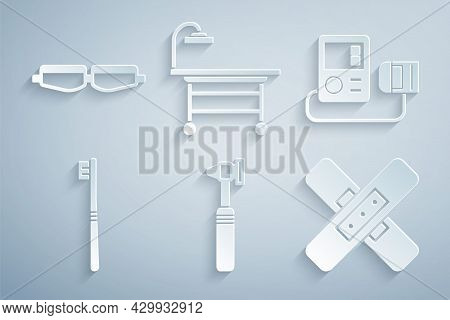 Set Medical Otoscope Tool, Blood Pressure, Toothbrush, Crossed Bandage Plaster, Operating Table And