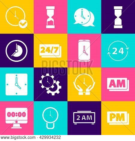 Set Clock Pm, Am, 24 Hours, Speech Bubble, And Alarm Clock App Mobile Icon. Vector