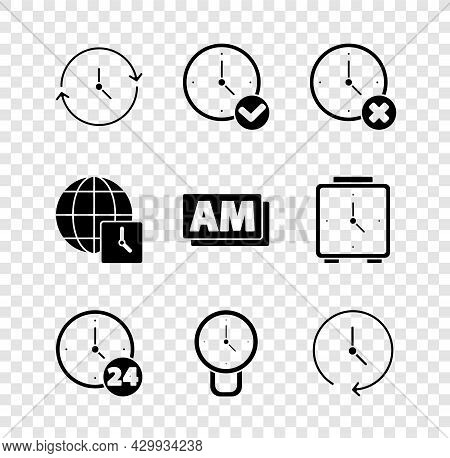 Set Clock, Delete, 24 Hours, World Time And Am Icon. Vector