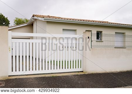 White Slide Steel Modern Gate Aluminum Portal Of Home Door Of Suburbs House In Street View