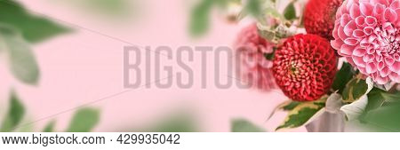 Banner With Autumn Bouquet Of Beautiful Flowers. Autumn Festive Decoration In Pink Colors, Selective