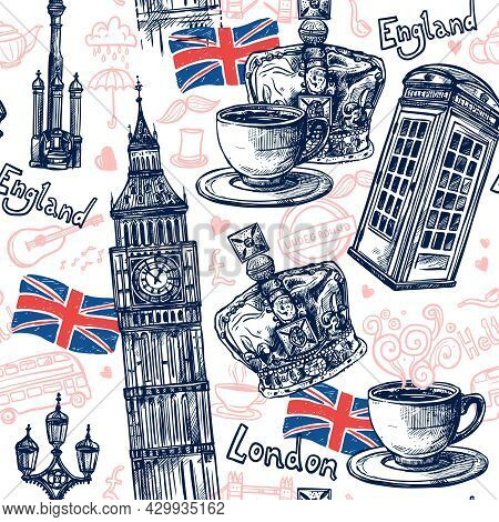 London Seamless Pattern With Sketch Telephone Booth Big Ben Crown Vector Illustration