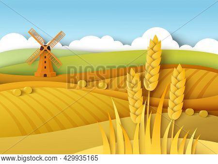 Rural Landscape. Wheat Fields, Windmill, Vector Paper Cut Illustration. Field Crop, Farming, Agricul