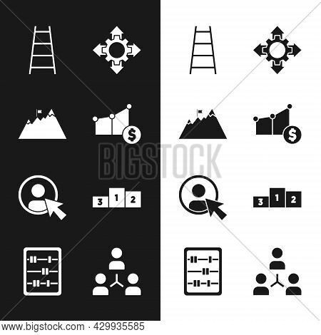 Set Pie Chart And Dollar, Mountains With Flag, Stair Finish, Project Team Base, Create Account Scree