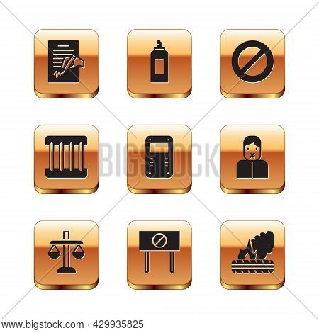 Set Petition, Scales Of Justice, Protest, Police Assault Shield, Prison Window, Ban, Lying Burning T