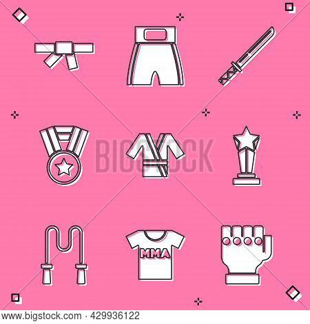 Set Black Karate Belt, Boxing Short, Japanese Katana, Medal, Costume Kimono, Award Cup, Jump Rope An