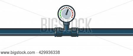 Pressure Gauge For Measurement. Water Fittings. Pipeline For Various Purposes. Illustration Isolated