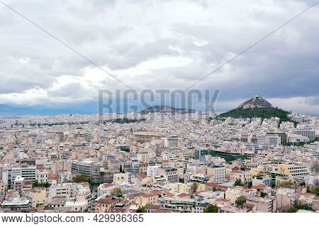 Athens, Greece - October 24, 2015: Aerial View From Aropolis On The Center And Mount Lycabettus. Lim