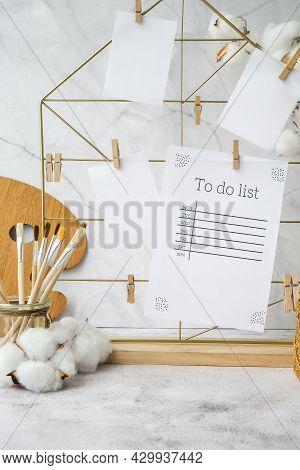 To Do List Cards And Posters Mock Ups On Grid Board. Copy Space. Home Office Desktop. Freelance Blog