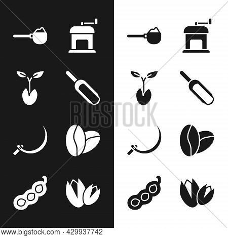 Set Scoop Flour, Sprout, Measuring Cup With, Manual Coffee Grinder, Sickle, Coffee Beans, Pistachio