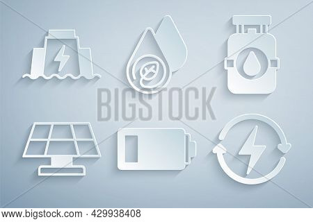 Set Battery, Propane Gas Tank, Solar Energy Panel, Recharging, Water And Hydroelectric Dam Icon. Vec