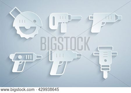 Set Electric Cordless Screwdriver, Construction Jackhammer, Drill Machine And Circular Saw Icon. Vec
