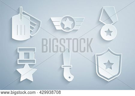 Set Military Knife, Reward Medal, Police Badge, Star American Military And Dog Tag Icon. Vector