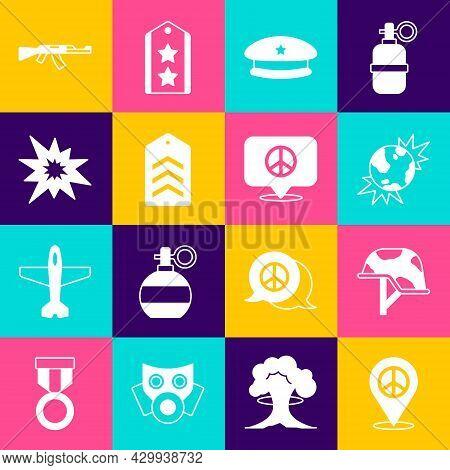 Set Location Peace, Military Helmet, Bomb Explosive Planet Earth, Beret, Chevron, Explosion, Submach