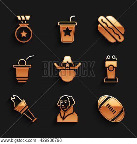 Set Sheriff Cowboy, George Washington, American Football Ball, Stage Stand Tribune, Torch Flame, Bee