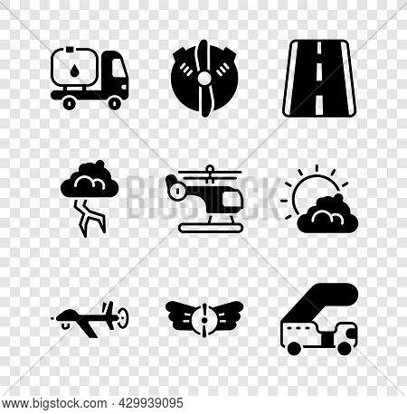 Set Fuel Tanker Truck, Plane Propeller, Airport Runway, Uav Drone, Aviation Emblem, Passenger Ladder