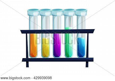 Test Tubes, Glass Bottles With Liquid In Different Colors In Cartoon Style Isolated On White Backgro