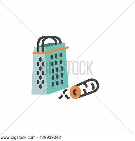 Carrot Grater Flat Icon, Vector Sign, Grating Carrot Colorful Pictogram Isolated On White. Symbol, L