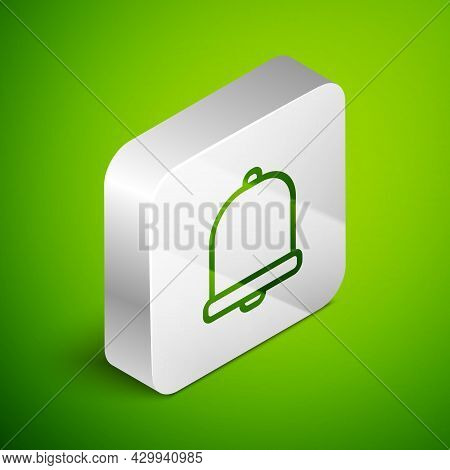 Isometric Line Church Bell Icon Isolated On Green Background. Alarm Symbol, Service Bell, Handbell S