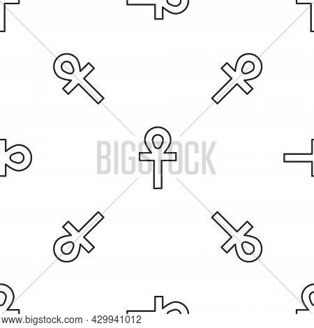 Grey Line Cross Ankh Icon Isolated Seamless Pattern On White Background. Vector Illustration