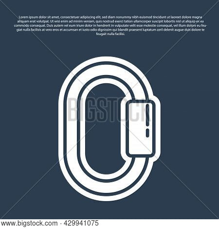 Blue Line Carabiner Icon Isolated On Blue Background. Extreme Sport. Sport Equipment. Vector Illustr