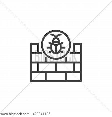 Firewall Hacking Line Icon. Linear Style Sign For Mobile Concept And Web Design. Firewall Cyber Atta