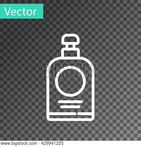White Line Hand Sanitizer Bottle Icon Isolated On Transparent Background. Disinfection Concept. Wash
