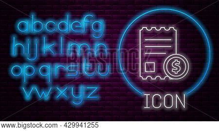 Glowing Neon Line Paper Check And Financial Check Icon Isolated On Brick Wall Background. Paper Prin