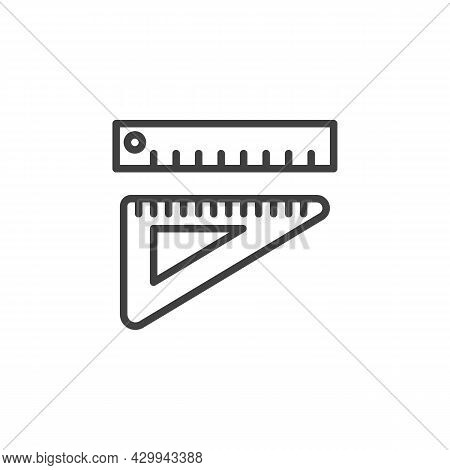 Rulers Line Icon. Linear Style Sign For Mobile Concept And Web Design. Measurement And Triangle Rule