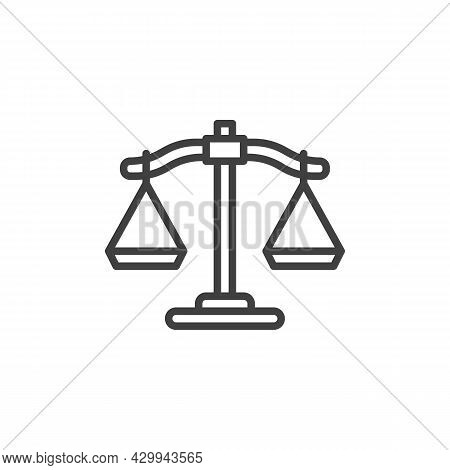 Justice Scales Line Icon. Linear Style Sign For Mobile Concept And Web Design. Balance Scales Outlin