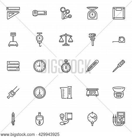Measurement Types Line Icons Set. Linear Style Symbols Collection, Outline Signs Pack. Vector Graphi
