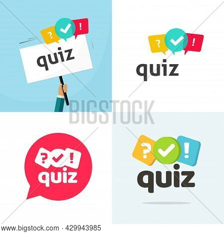 Test Quiz Logo Icon Vector Flat Cartoon Illustration, Competition Interview Time Or Interrogation Ga