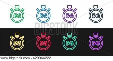 Set Line Digital Speed Meter Concept With 5g Icon Isolated On Black And White Background. Global Net