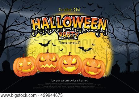 Four-headed Ghost Pumpkin On Gravel Grass Scary Misty Forest In The Night Of The Full Moon And Flyin