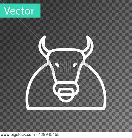 White Line Bull Icon Isolated On Transparent Background. Spanish Fighting Bull. Vector