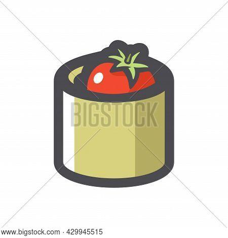 Tomato Tin Can Vector Icon Cartoon Illustration.