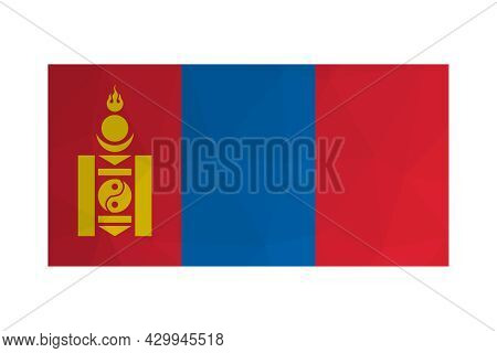 Vector Isolated Illustration. National Mongolian Flag. Official Ensign Of Mongolia With Soyombo Symb