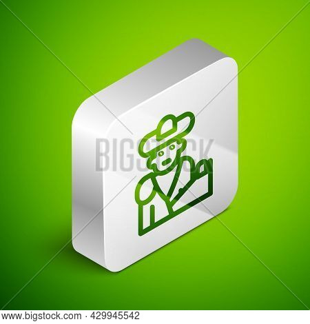 Isometric Line Spain Bullfight, Matador Icon Isolated On Green Background. Traditional Spanish Enter