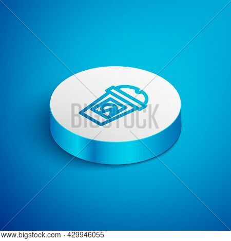 Isometric Line Coffee Cup To Go Icon Isolated On Blue Background. Take Away Print. White Circle Butt