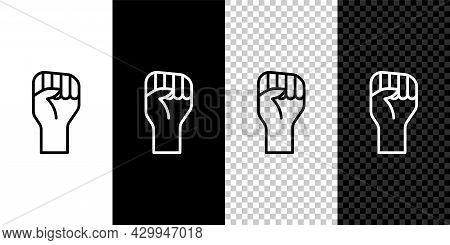 Set Line Raised Hand With Clenched Fist Icon Isolated On Black And White Background. Protester Raise
