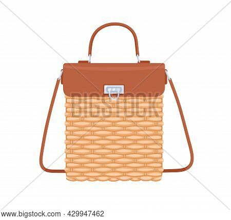 Women Summer Basket Bag With Leather Flap, Handle And Shoulder Strap. Female Wicker Handbag From Can