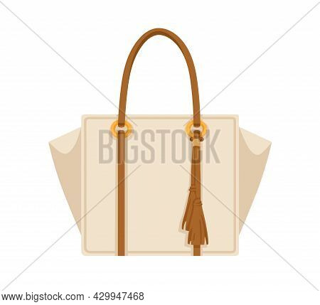 Women Shopper Bag With Leather Double Handle And Fringe. Female Handheld Handbag Of Rectangular Shap