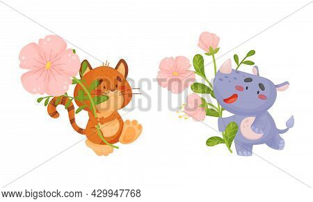 Adorable Baby Animals Holding Spring Flower Set. Lovely Cat, Rhino Standing With Wild Pink Flowers C