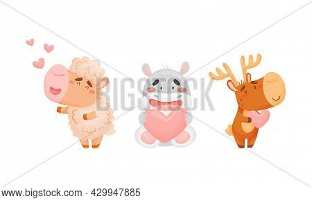 Adorable Baby Animals With Pink Hearts Set. Lovely Happy Sheep, Hippo, Elk Holding Heart Cartoon Vec