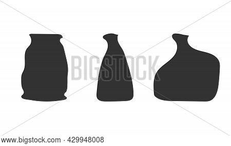 Vector Isolated Dark Grey Illustration Of Handmade Ceramic Vases. Hand Drawn Craft Earthenware Made