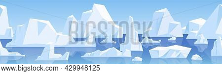 Seamless Horizontal Background With Arctic Glaciers Floating On Water. Endless Cold Winter Landscape