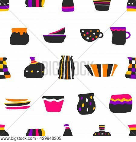 Vector Seamless Pattern With Objects Of Handmade Ceramic Tableware. Colorful Collection Of Hand Draw